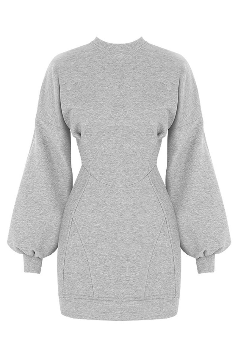 Grey Melange sweatshirt dress