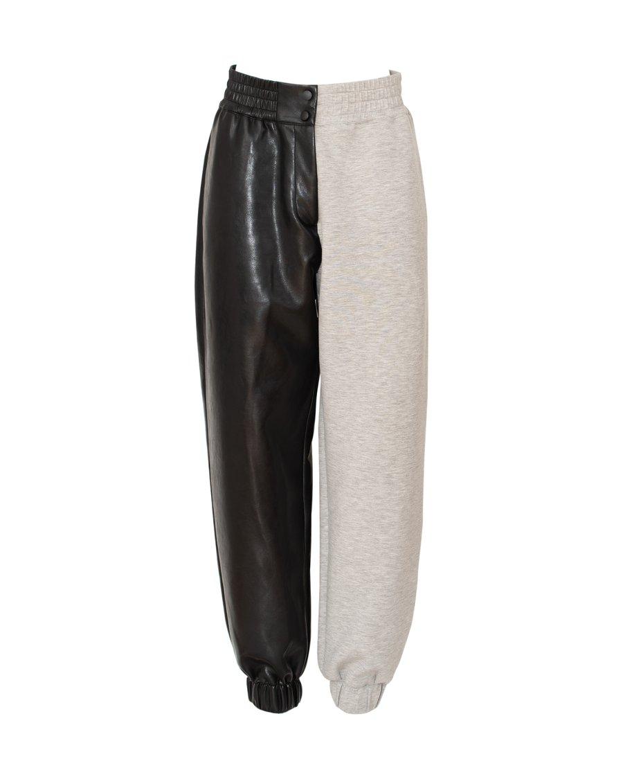 Hybrid leather-jersey pants